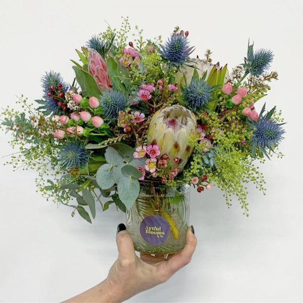 Artful Blooms Native Posy Native blooms berries in a gorgeous patterned glass vase Dromana flowers Mornington Peninsula flower delivery