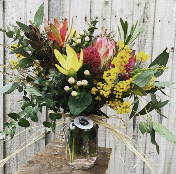 Native posy in vase
